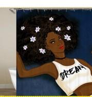 African girl digital print shower curtain
