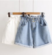 Women New Fashion High waist Elastic Denim Short For Women 2020 Summer Casual Hemming Loose Short White jeans Shorts For females