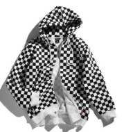 European and American tide card checkerboard black-and-white checked, cardigan, sweater, autumn winter couple trend thickened hat coat, men and women
