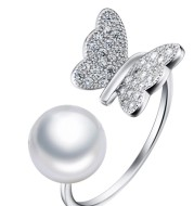 925 SilverButterfly Pearl Decoration Ring