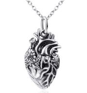 Human Heart Pendant 925 Silver Necklace