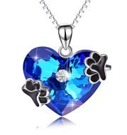 Blue Crystal Pendant 925 Silver Necklace