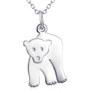 Polar Bear Pendant 925 Silver Necklace