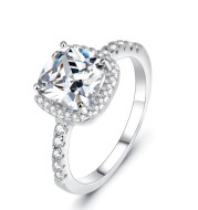 925 Sterling Silver Square Diamond Ring