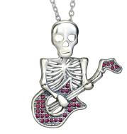 Guitar Skeleton Pendant 925 Silver Necklace