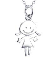 Cartoon Little Girl Pendant 925 Silver Necklace