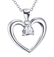 Heart Shape Pendant 925 Silver Necklace