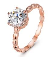 925 Silver Diamond Ring Rose Gold