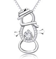 Snowman Pendant 925 Silver Necklace