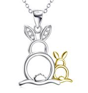 Cute Golden&Silver Rabbits Pendant 925 Silver Necklace