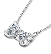 Diamante Bowknot Pendant 925 Silver Necklace
