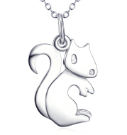 Squirrel Pendant 925 Sterling Silver Necklace