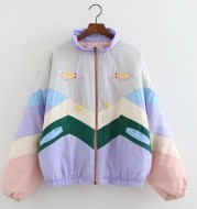 Colorblocked cotton coat