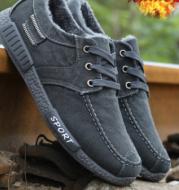 Men Winter Plush Casual Lace Up Canvas Shoes