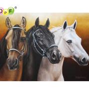 DPF DIY Three horses 5D home decor diamond embroidery crafts diamond painting cross stitch needlework diamond mosaic full square