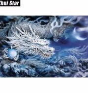 "New Full Square Diamond 5D DIY Diamond Painting ""China Dragon"" Embroidery Cross Stitch Rhinestone Mosaic Painting Decor Gift"