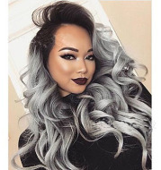 2 Tones synthetic lace wig grey black Ombre wavy wigs long curly hair