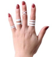 Stylish, simple, hollow, white cross four piece rings, articulation ring tail ring
