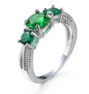Fashion Platinum Lady Ring Emerald Crystal Diamond Jewelry Gift Jewelry