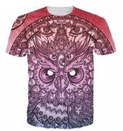 2020 new men and women owl 3D digital printing casual T-shirt casual wear short-sleeved