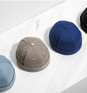 Mustard men's clothing | new tide Chinese style pure color casual wild men and women couple models dome short cap hat