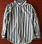 Textured coffee gray vertical stripes shirt female