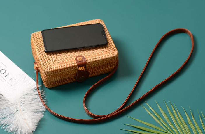 3cc8919ebf7752 This Rattan Straw Crossbody Summer Bag, inspired by boho chic fashion, is  handcrafted by artisans with lightweight rattan and genuine leather for a  ...