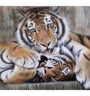 DIY Painting By Numbers on canvas tigers painting by numbers with acrylic paints