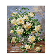 White Rose DIY Hand Painting By Numbers Paint By Numbers Oil Painting On Canvas Unique Gift For Home Decor