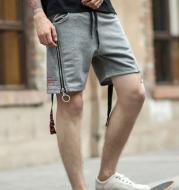 Zipper Stripe Decoration Sweater Pants With Drawstring