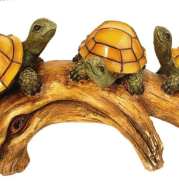 Turtles on a log Solar-Powered