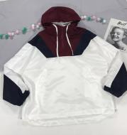 Contrast hooded loose long sleeved jacket
