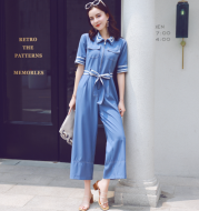 Black chiffon tie waist slimming wide leg jumpsuit female summer new Korean version of loose fashion jumpsuit