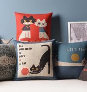 Cartooncotton and linen pillow sofa office cushion linen pillow IKEA literary cute pillowcase without core