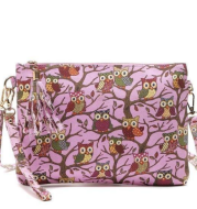 Crossbody  Shoulder Bag made of Canvas Decorated with Owls Printing