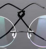 Retro round titanium alloy super elastic frameless men and women metal glasses framelight mirror myopia frame