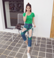 Real shot 2020 autumn new European and American fashion women's suit short-sleeved t-shirt hole sequins jeans two-piece