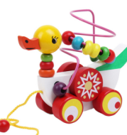 Wooden Children's Animal Duckling Beads Puzzle & Trailer