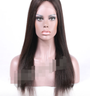 Chemical fiber front lace black straight hair wig