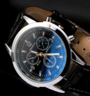 Men's watch Blu-ray colorful glass watch male micro-business Taobao explosion student quartz watch three-eye men's gift watch