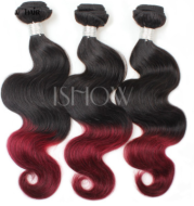 Xuchang real person wig Brazil hair curtain dice curtain wine red two-color body wave hair curtain one generation