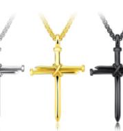 Titanium steel casting steel nails cross men's pendants necklace jewelry