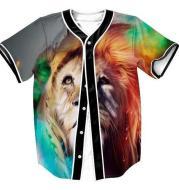 3D trend lion king print button cardigan baseball uniform