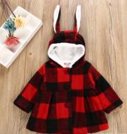 Children's clothing baby woolen coat autumn and winter new Korean version of the girl warm fleece thickened rabbit ears coat