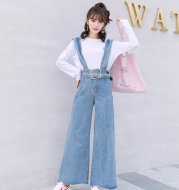 2020 spring and autumn new wide leg jeans high waist loose thin waist belt suspenders micro-horns bib tide