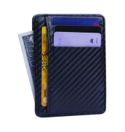 2020 New Fashion Pu Leather Carbon Fiber Wallet Mini Slim Wallets Business Men Credit Card ID Holder with RFID Anti-chief Purse