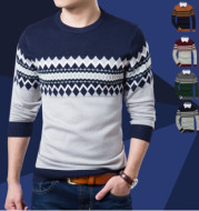2021 autumn and winter color matching sets of sweaters slim round neck long sleeve bottoming shirt color matching sweater sweater men