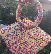 Mixed color acrylic beads handbag