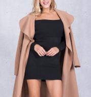 2021 new European goods tide black woolen coat female long section noble temperament coat