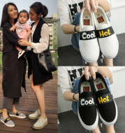 Celebrities, small white shoes, Korean casual shoes, black and white canvas shoes, women's shoes, Xia Ping, thick bottom shoes, lazy shoes.